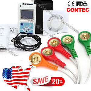 Us Stock Contec 3 channel Dynamic Ecg Ekg Holter Recorder 24 Hours Pc Sw Tlc9803