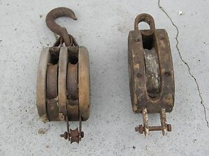 Lot Of 2 Antique Vintage Wood Metal Barn Block Tackle Pulleys