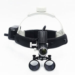 Dental Surgical Medical 3 5x420mm Headband Loupe With Led Headlight Dy 106 Black