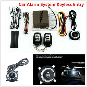 Keyless Entry Car Alarm System Push Button Remote Engine Ignition Start Security