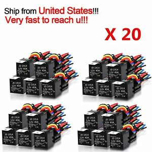 20x 12v 30 40 Amp Spdt Automotive Relay With Wires Harness Socket Car Vehicle Hm