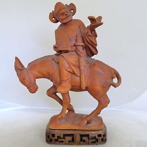 9 85 Chinese Carved Wood Or Boxwood Immortal God Or Dignitary Man On Donkey