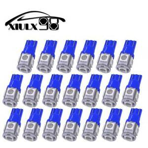 20 X Pure Blue T10 Led Bulbs Car Interior License Light 2825 194 5050 5 Smd