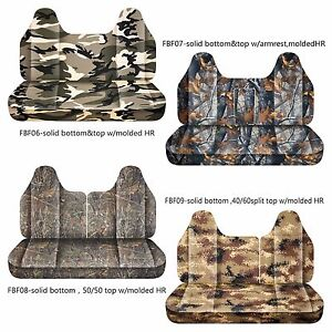 Afcc Ford F 150 250 350 Camouflage Bench Seat Cover Molded Headrest 24 Colors