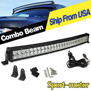 Curved 32inch Led Light Bar Wiring Spot Flood Driving Trailer Atv Boat Offroad