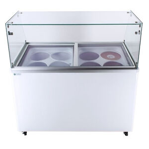 Commercial Ice Cream Dipping Cabinet Straight Glass edc 8