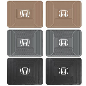 2pc Honda Elite Heavy Duty Rubber Rear Utility Floor Mats Set Black Gray Tan