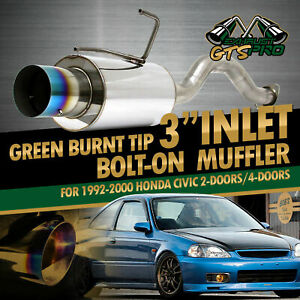 For 92 2000 Honda Civic Bolt On Stainless Steel Exhaust Muffler Burnt Green Tip