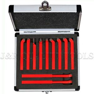 New 11 Pc Carbide Tip Tipped Cutter Tool Bit Cutting Set For Metal Lathe Tooling