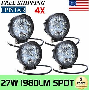 4x 4inch 27w Round Spot Led Work Light Fog Lamp Offroad Driving Suv Ute 4wd