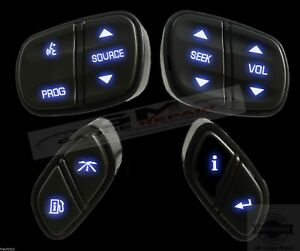 Gm Chevrolet Steering Wheel Buttons Switches Controls New W Blue Led s 4pc Set