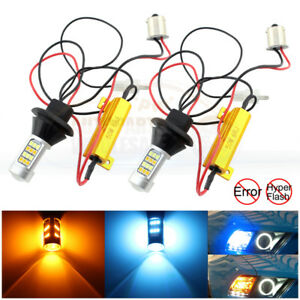 2 1156 No Hyper Flash Switchback Led Bulbs Front Turn Signal Lights Or Drl