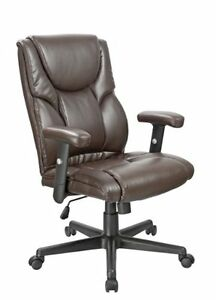 Executive Office Chair High Back Lumbar Support Ergonomic Brown Bonded Leather