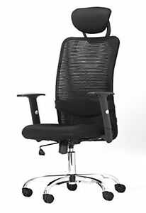 Ergonomic Black Mesh Desk Office Chair With Headrest And Adjustable Arms