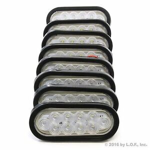 8 6 Oval Clear Led Reverse Back Up Light Surface Mount Trailer Truck