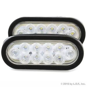 2 6 Oval Clear White Led Reverse Back Up Light Surface Mount Trailer Truck