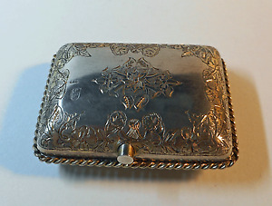 Antique Russian Silver Snuff Box Moscow Russia 1885