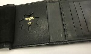 Boston Leather Tri Fold Wallet Badge Case 375 s 7001