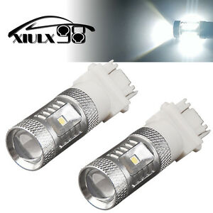 2x White 3157 3156 High Power 80w Led Tail Brake Stop Backup Reverse Light Bulbs