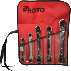 Proto 5 Piece 7 To 17mm 12 Point Ratcheting Box Wrench Set Metric Measureme