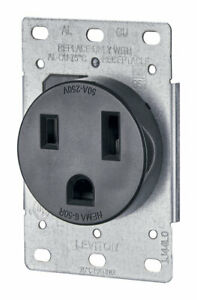 Leviton R10 05374 000 50a 250v 2 pole Industrial Grade Flush Mounting Receptacle