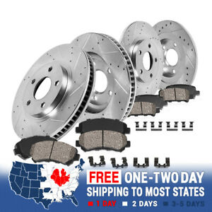 Front Rear Drill Slot Brake Rotors And Ceramic Pads For 93 98 Grand Cherokee