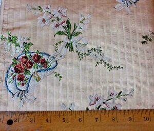 Antique French 19thc Lyon Silk Brocade Fabric Sample Le Chapeau 18thc Looms