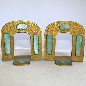 Pair 4 8 Antique Chinese Gilt Brass Bookends With 8 Carved Green Jadeite Jade
