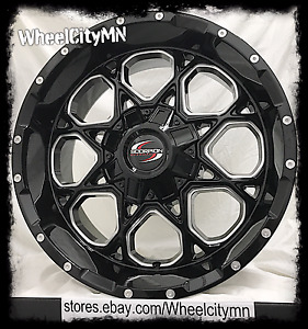 20 Inch Black Milled Scorpion Sc10 Wheels Rim Chevrolet Silverado 1500 6x5 5 12