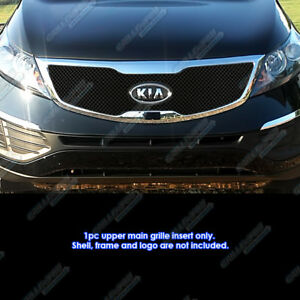 Fits 2011 2013 Kia Sportage Reg Model Stainless Steel Black X Mesh Grille