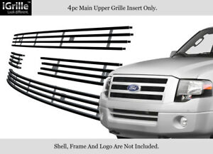 Fits 2007 2014 Ford Expedition Black Stainless Steel Billet Grille Grill Insert