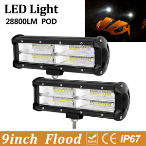 2x 7 51w Round Led Light Spot Work Off Road Fog Driving Roof Bar Bumper 4x4