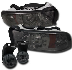 1994 2001 Dodge Ram Smoke Led Halo Projector Head Lights W Bumper Fog Lamp Combo