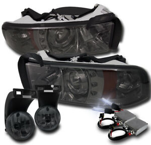 1994 2001 Dodge Ram Smoke Led Halo Projector Headlight Fog Lamp 50w 8k Hid Combo