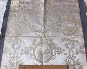 French 19thc Antique Lyon Silk Brocade Fabric Marie Antoinette Style 30 Lx22 W
