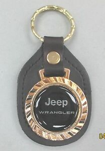 Vintage Black Jeep Wrangler Royal Classic Silver Type Key Ring Leather Key Fob