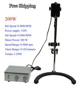 Free Shippng 110v Lab Electric Overhead Stirrer Mixer Variable Speed 200w 1 2n m