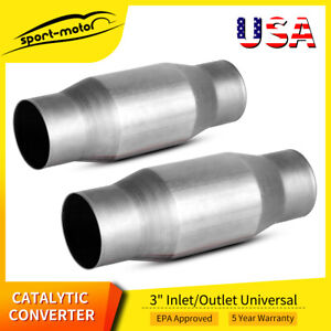 2x 410300 Universal Catalytic Converter 3inch In out High Flow Spun Cat Catalyst