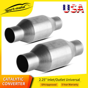 2pcs 2 1 4 Inch Universal Catalytic Converter High Flow Exhaust Pipe Reversible