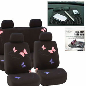 Car Seat Covers Butterfly Beautiful Black For Girl Free Gift Dash Grip Pad