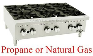 36 3 Foot Wide Hot Plate Six 6 Burner Counter Top Range Propane Natural Lp Gas