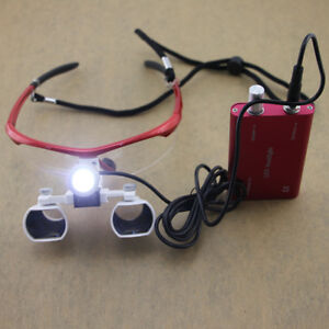 Red Dental Loupes Led Headlight Medical Binocular Optical 3 5x Cv 290