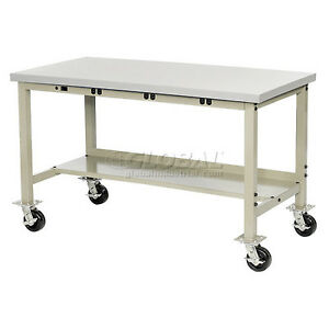 60 w X 30 d Mobile Production Workbench With Power Apron Esd Square Edge Tan
