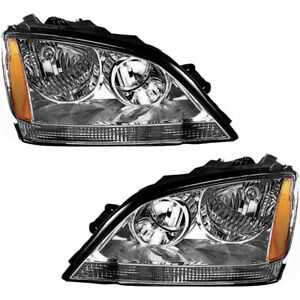 Oe Replacement Headlight Assembly W bulb Pair Set New For 2003 2004 Kia Sorento