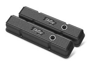 Holley 241 242 Sbc Vintage Series Finned Valve Covers Satin Black Machined