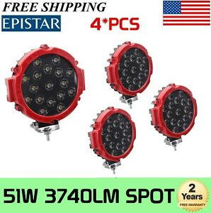4pcs 7 Inch 51w Round Cree Led Work Lights Spot Offroad Boat Atv Suv Truck Lamp