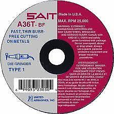 United Abrasives 23040 Type 1 A36t Fast Cut off Wheels 3 X 1 16 X 3 8 In 50 pack