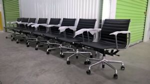 Eames Aluminum Group Management Chair Herman Miller Pneumatic Lift Leather
