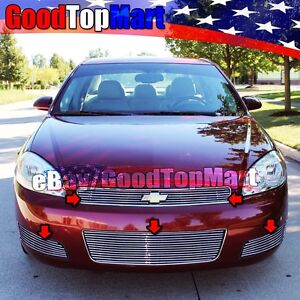 For Chevy Impala Lt 2006 2012 Polished Grille 5pc Combo Top Bumper Fog Overlays