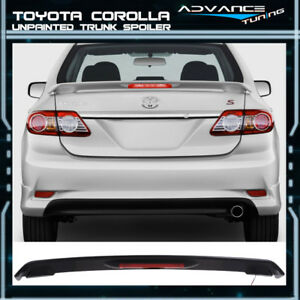 09 13 Toyota Corolla Sedan Unpainted Trunk Spoiler Wing Led Brake Light Lamp